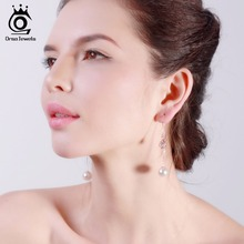 JEWELS New Water Drop Shape Austrian Crystal Long Stud Earrings with big Pearl Elegant Gold-color Jewelry for Women OME27