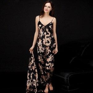 Image 5 - SSH008 Women Satin Silk Pajama Set Female 3pcs Full Sleeves Sleepwear Loungewear Women Nightgown Spring Autumn Nightwear Pajamas