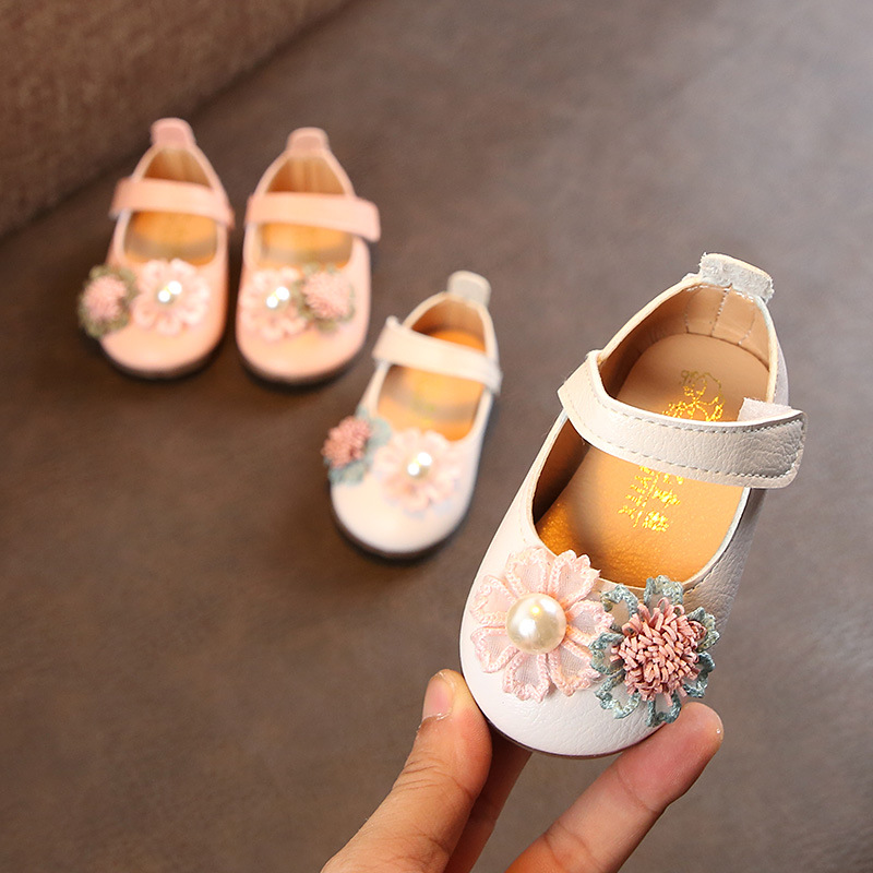Honesty Sequins Inlaid Pearls Baby Girl Shoes Sweet Butterfly-knot Toddler Ballet Princess Shoes Infants Newborn Shoes First Walkers