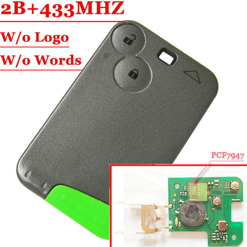 Big Discout (2pcs/lot ) Excellent Quality Green Blade 2 Button Smart Card For Renault Laguna with pcf7947 Chip 433MHZ