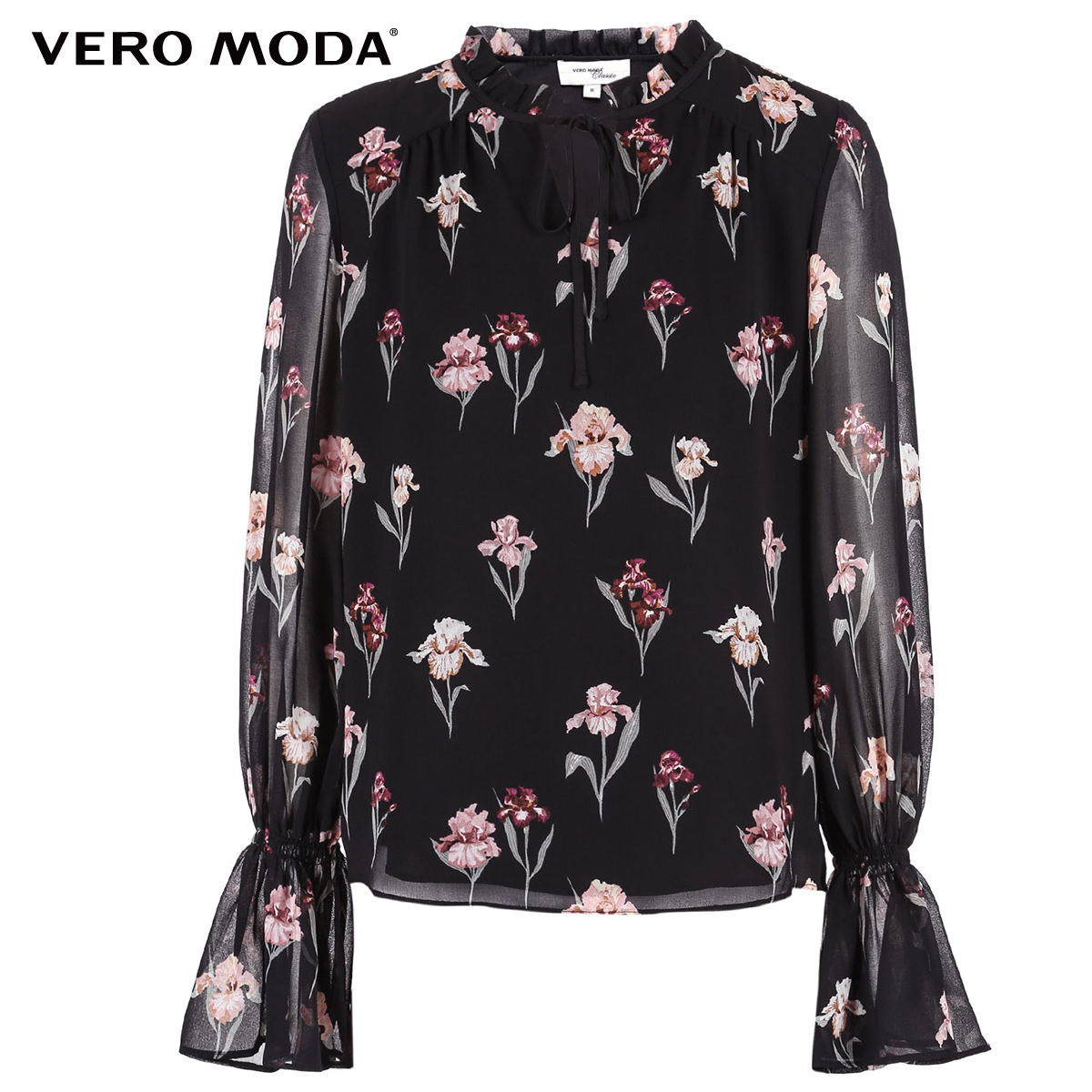 Image 5 - Vero Moda New Womens Floral Pattern Flared Sleeves Chiffon Blouse Tops  318351502Blouses