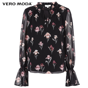 Image 5 - Vero Moda New Womens Floral Pattern Flared Sleeves Chiffon Blouse Tops