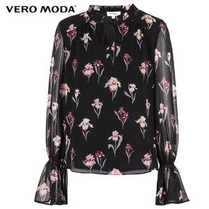 Image 5 - Vero Moda yeni kadın çiçek desen Flared kollu şifon bluz üstleri
