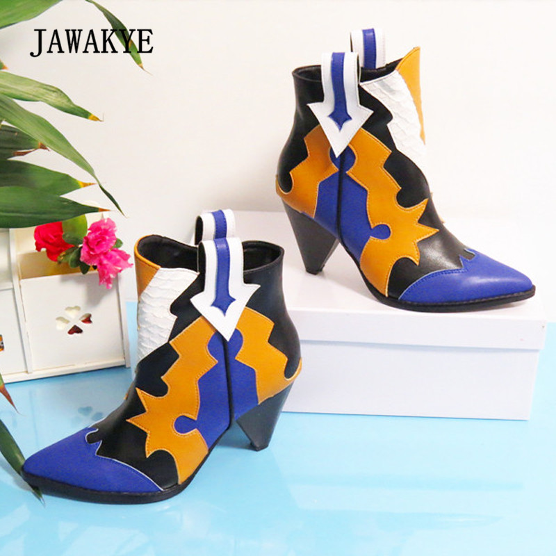2018 Chic Ankle Boots Woman Pointed Toe Mixed Color Strange High Heel Boots Women Martin Boots m mixed color women ankle boots square high heel shoes woman fringed booties chaussure femme women pumps martin botas