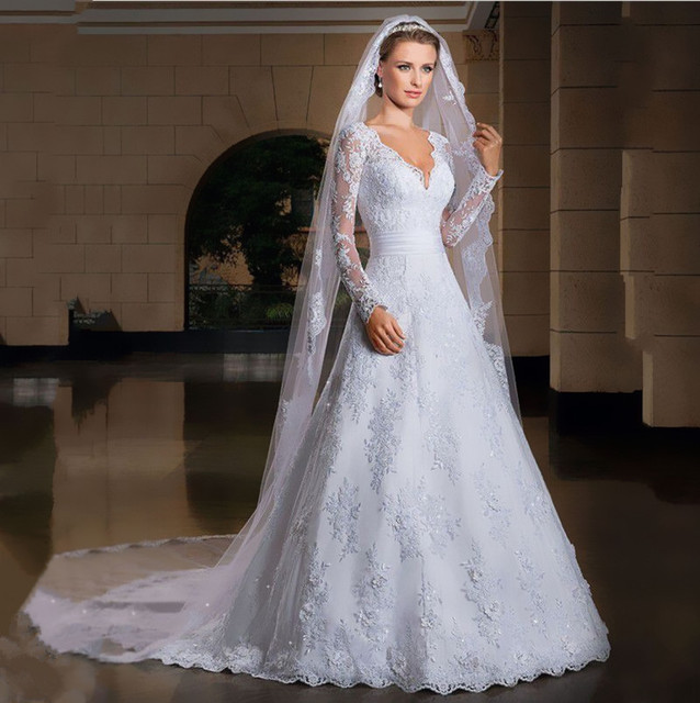 White Lace Wedding Dresses 2017 Hot Beaded Long Sleeves Court Train Bride Custom V