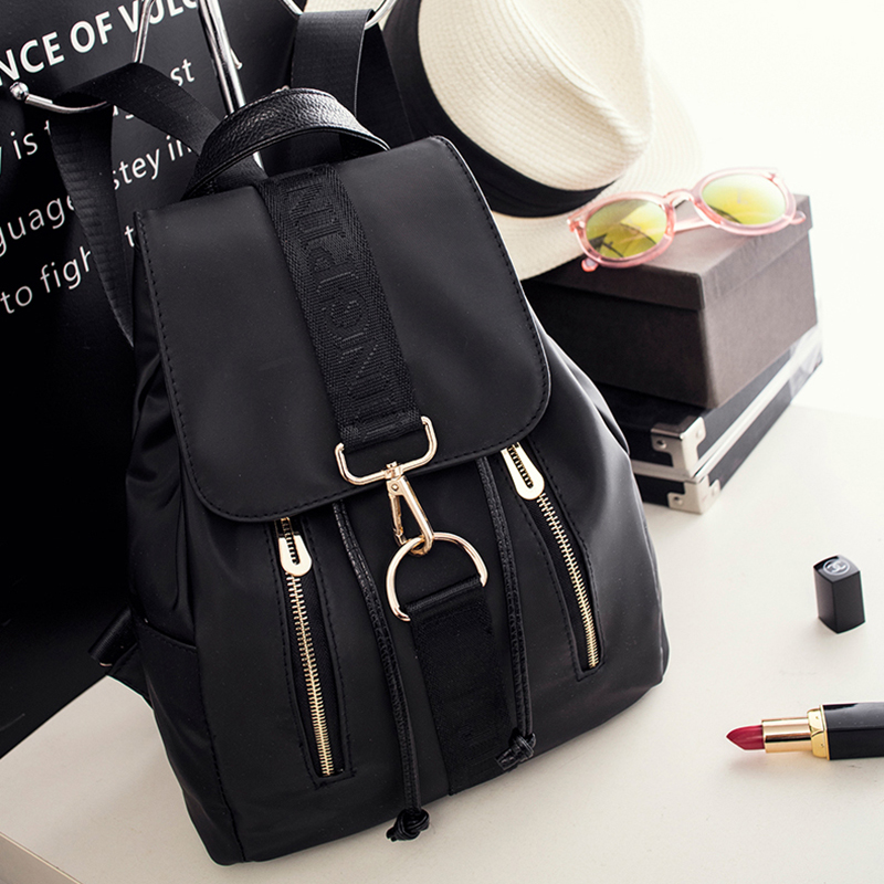 women nylon backpack 2018 teenager girls school bag casual female travel bags fashion preppy style women daily black backpacks