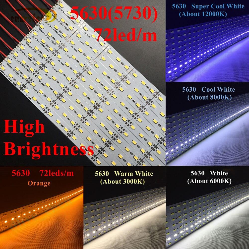 Super Haute Luminosité 1 m 5630 (5730) led Dur Bande Bar Lumières LED Chaîne Éclairage Lampe DC 12 v Chaque LED Bande 100 cm 20 Watts 72 led