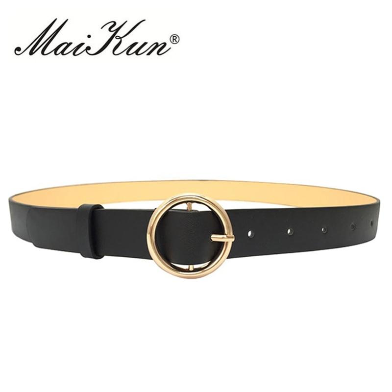 Černý kožený opasek pro ženy pás luxusní značky Designer Golden kulaté spony džíny pás