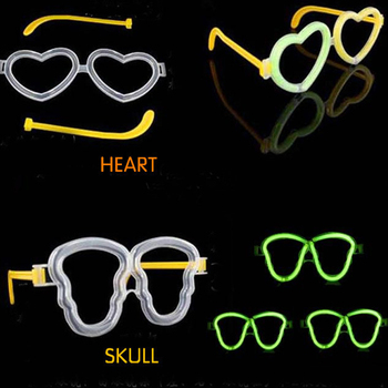 Glowing Light Stick Jewelry Special Silver Light Assembly Love Glasses DIY Heart-shaped Glasses For Halloween Bar Concert Party