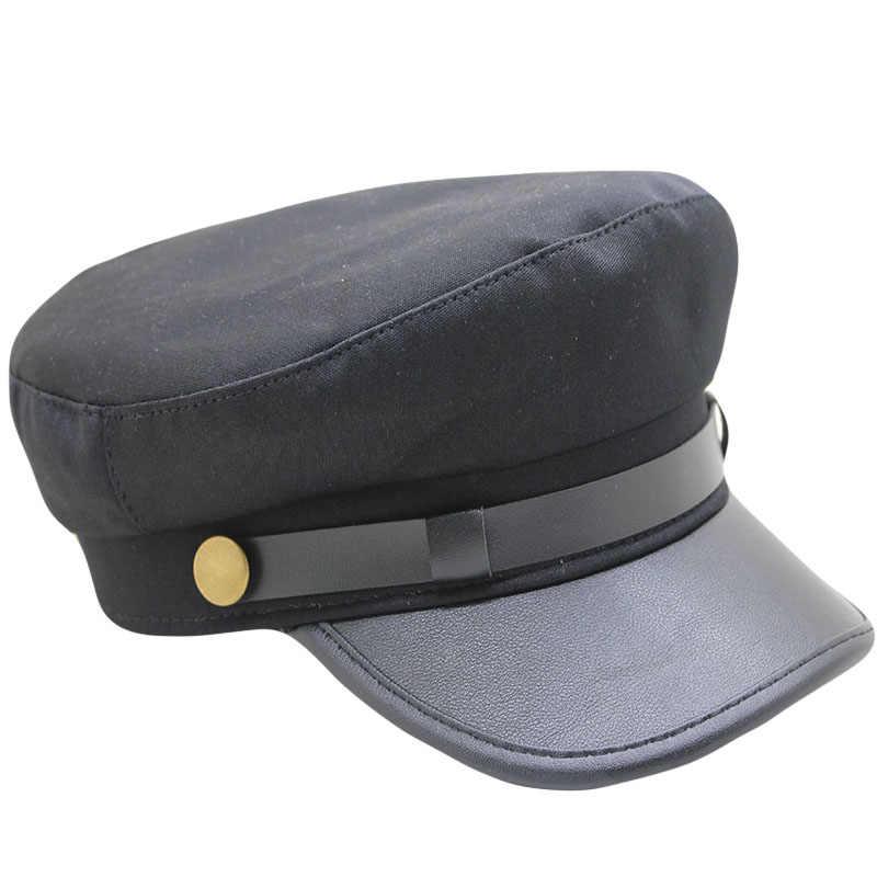 بو الجلود قبعة عسكرية الرجال القطن Kepi قبعة مموهه قبعات بحار للنساء الرجال شقة علوي أنثى السفر كاديت قبعة الكابتن قبعة عسكرية