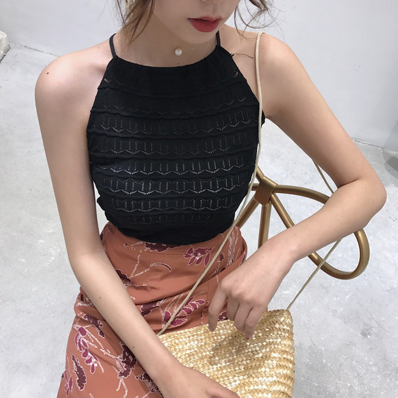 Women Sleeveless O-Neck Pullover Hollow Out Knitted Tank Top 3