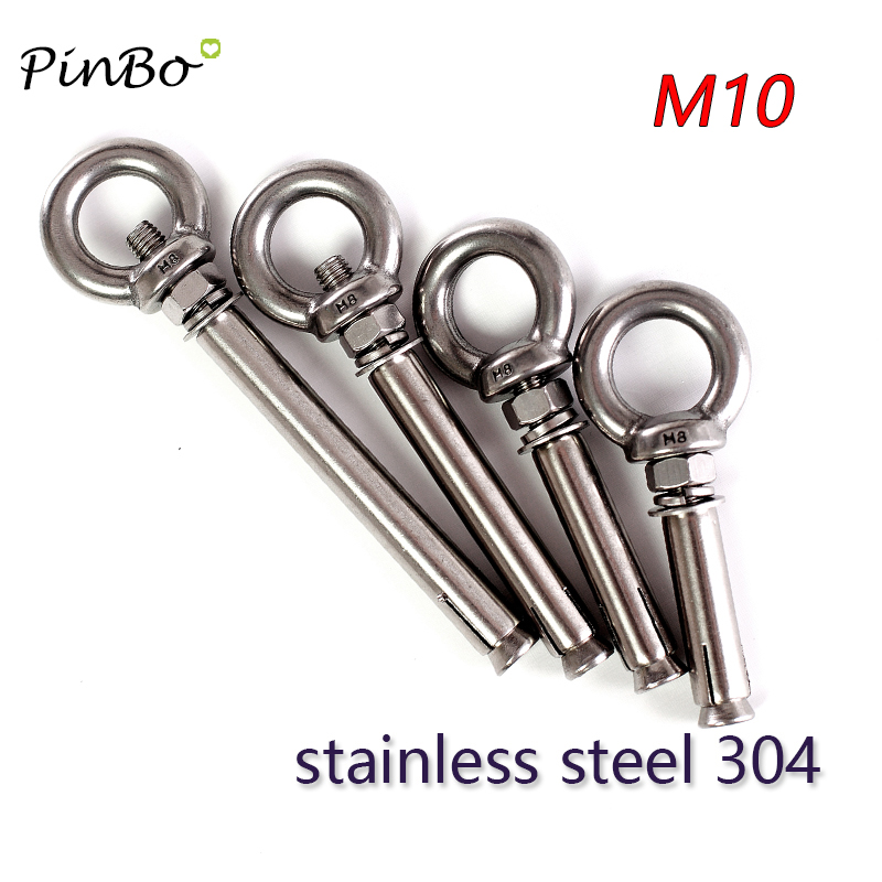 M10 x 120 Screw nut with Expansion Eye Bolt with Ring 304 Stainless Steel Anchor Rough Bolts 1 Piece