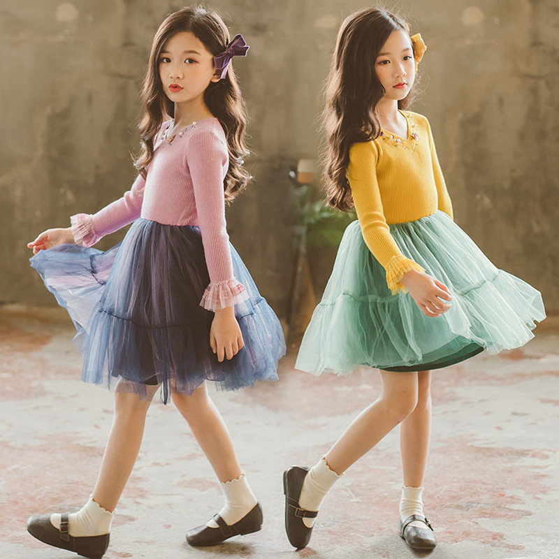 цены 2018 New High Quality Spring Fashion Style Kids Knit Tutu Dress Girls Embroidery Dress Girl Princess Party Dresses CC807