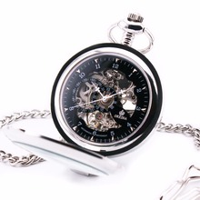 2016 Luxury Delicate Pocket Watch Arabic Number Black Silver Case Dress Semi Automatic Mechanical Steampunk Fob