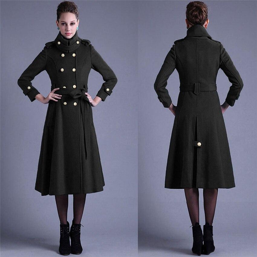 Femelle Noir Longue Automne Green Coupe D'hiver Manteau Femmes Femme Pardessus Hiver vert army Veste Chaud Taille Laine Cape vent Réglable pdadqBw