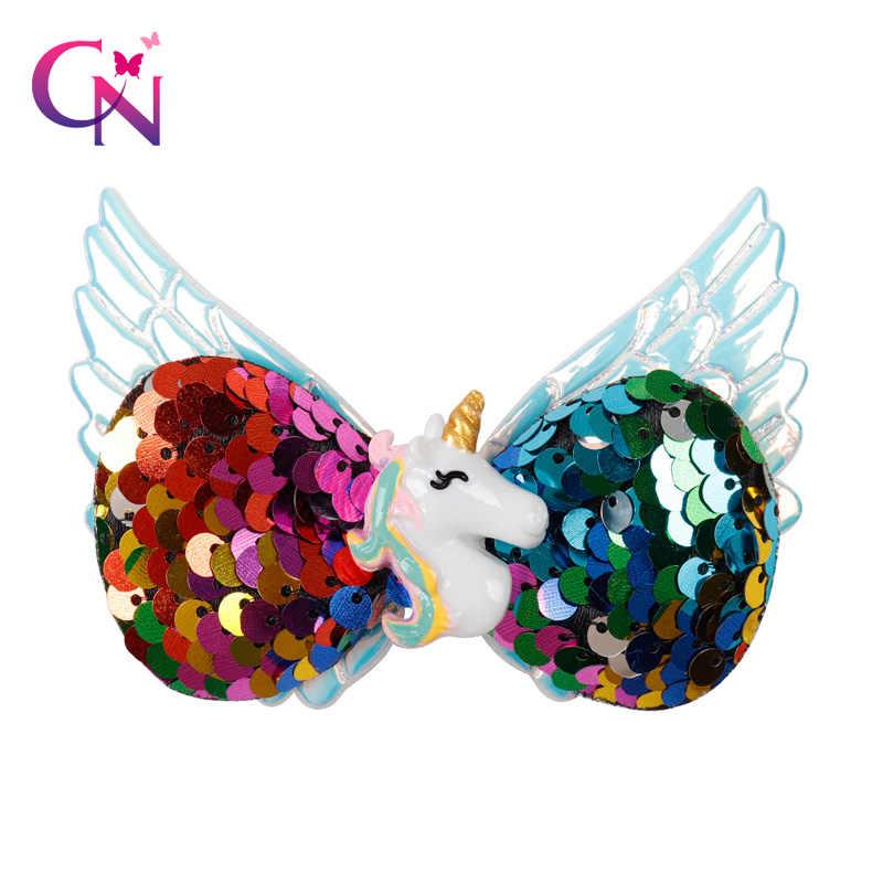 CN 3.5 akcesoria do włosów jednorożec kokardy do włosów dla dziewczynek odwracalne cekiny skrzydła spinki do włosów łuki włosy dziewczyna spinki do włosów Party stroik