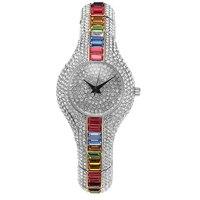 Barato Relojes de lujo de marca de 2017 para mujer, reloj de pulsera de cristal de imitación puro de alta calidad para mujer