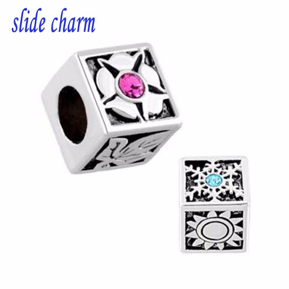 slide charm Free shipping Snowflake Symbol 4 Seasons Blooming Flower Defoliation Beads Charms B Bead fit Pandora charm bracelet