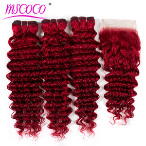 Colored Red Deep Wave 3 Bundles With Closure Ombre Brazilian Human Hair Weave Bundles With Closure(China)