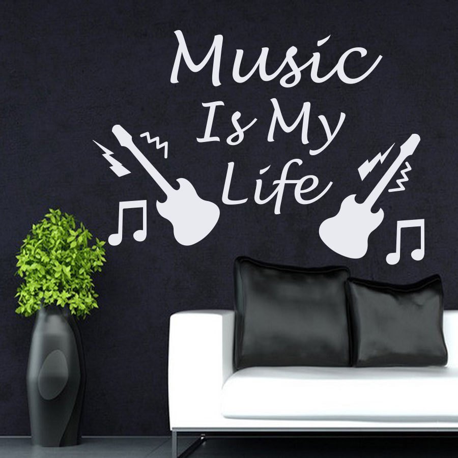 Quotes Music Wall Decals Quotes Music Is My Life Guitar Decal Living Room Decor
