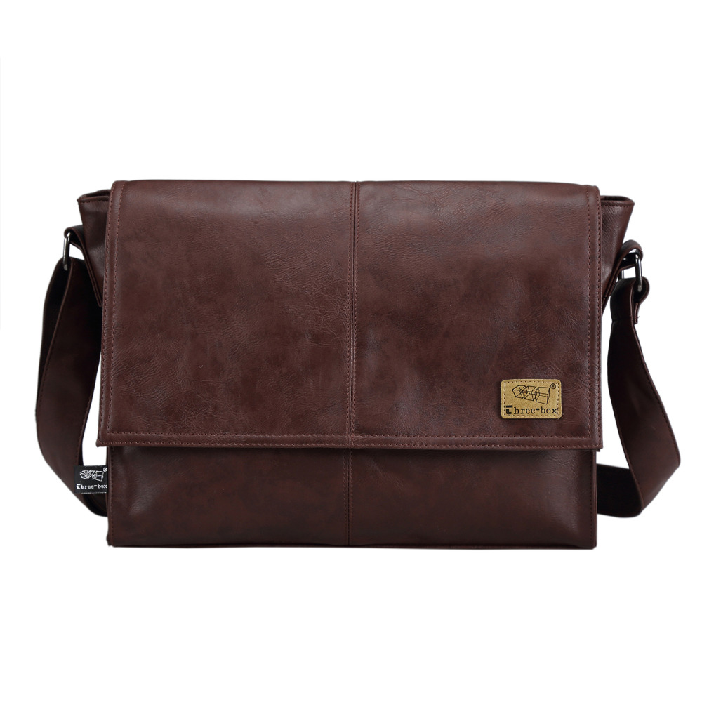 Designer handbags Men's 14 inch laptop bag pu leather messenger bags men travel school bags leisure bags free shipping