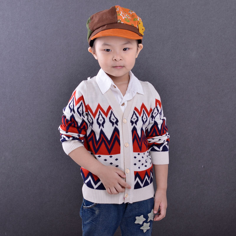 Humor Kids Sweater Boys Cardigan Baby Girls Jacquard Cardigans V-neck Long Sleeve Knitted Clothing Single Breaster Clothes