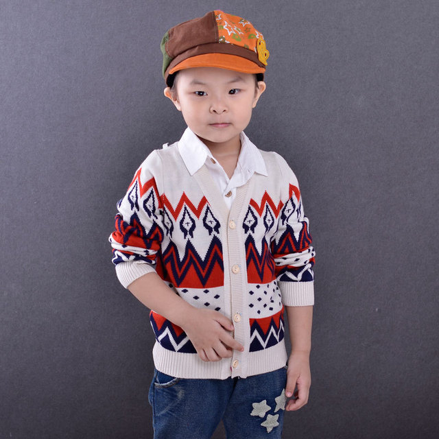 Kids sweater boys cardigan baby girls jacquard cardigans V-Neck long sleeve knitted clothing single breaster clothes