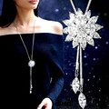 White Crystal Sunflower Tassel Long Necklace Women Fashion Jewelry New Classic Sweater Necklaces & Pendants Bijoux Gift