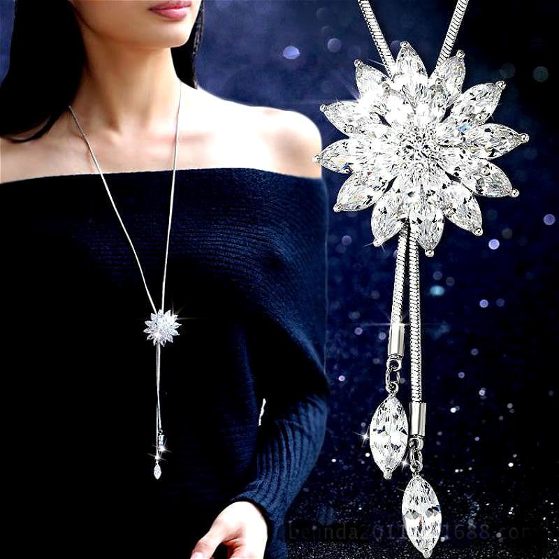 White Crystal Sunflower Tassel Long Necklace Womens