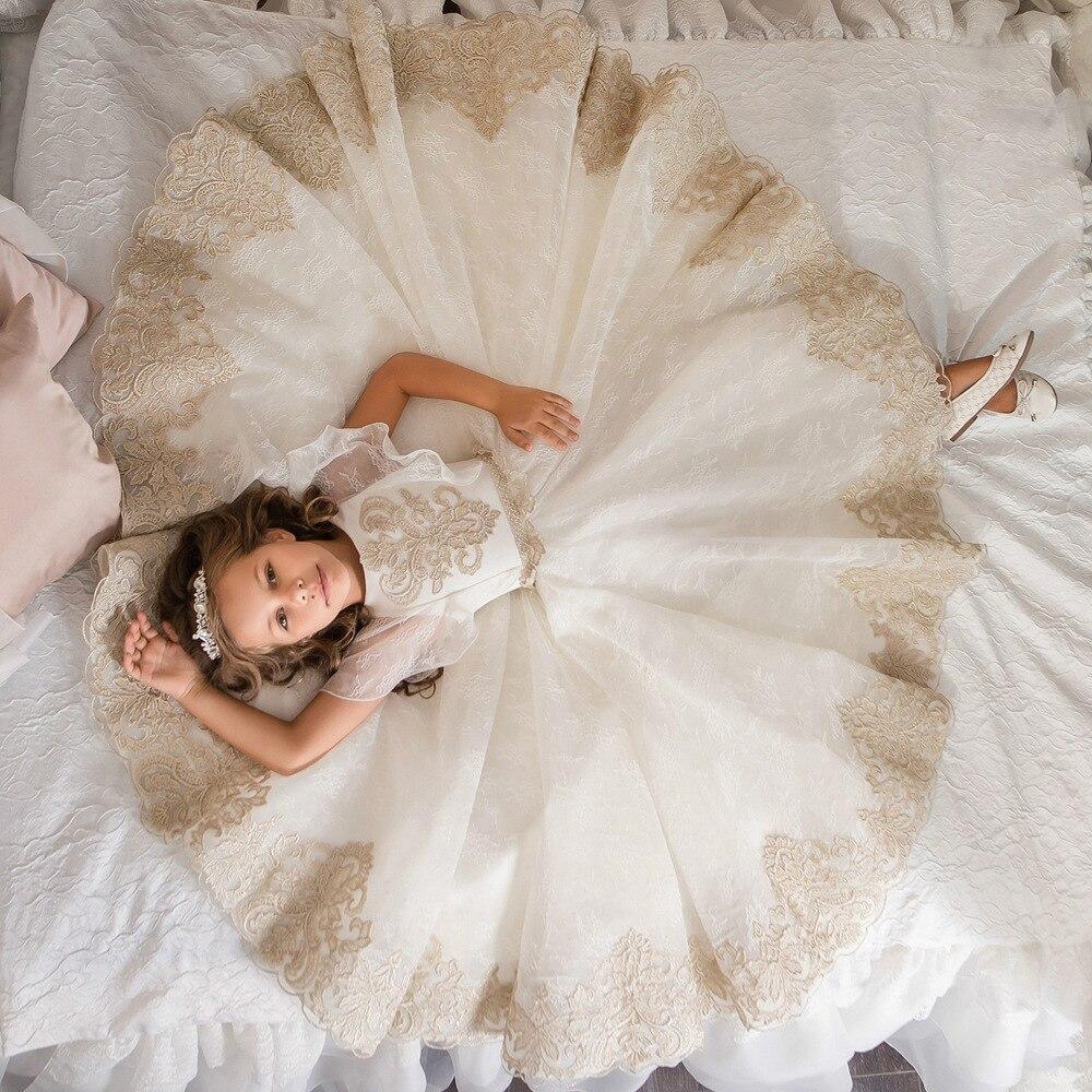 0-12 Stunning Sleeveless Holy Communion Dresses Cream Kids Floor Length  Ruffles Lace Satin Tulle. sku  32861860189 adb9f4a7da76