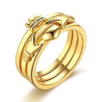 MEEKCAT Love Heart Design Crown Hand Heart Clah-Duh Claddagh Rings For Women Christmas Gift Anel Fashion Gold Color Bague