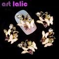 10 Unids/lote Negro Blanco 3D Clavos Del Clavo Del Rhinestone de la Aleación de Oro de La Mariposa Animal Decoraciones Para Encantos Strass Nail Art TN307