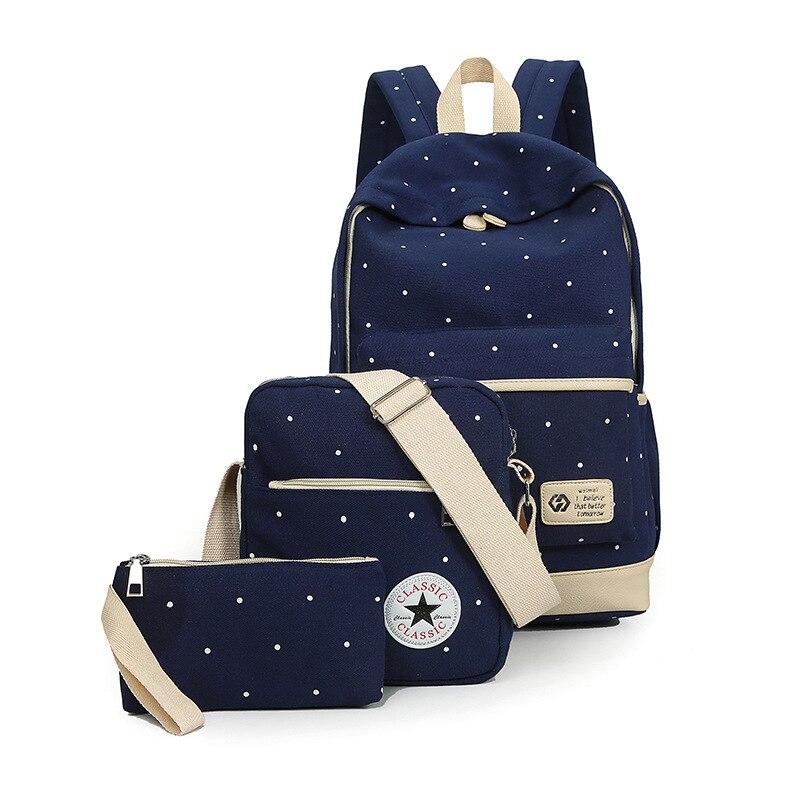 Для женщин трех частей костюм Сумки на плечо 3 шт./компл. рюкзак холст для девочек Школьные ранцы для подростков рюкзак Mochila рюкзак сумка комп...