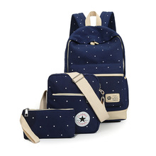 Women Three piece Suit Shoulder Bags 3 Pcs Set Rucksack Canvas Girl School Bags For Teenagers