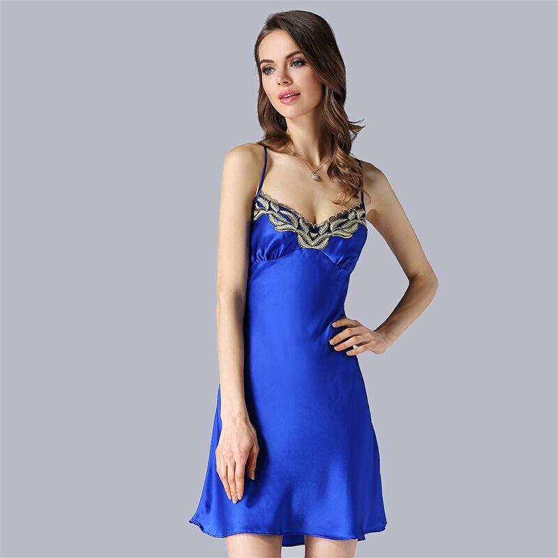 High-grade 100% Natural Silk Womens Nightdress Summer Sling Lingerie Real Silk Nightgowns Women Nightwear Sleepwear