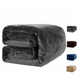 Image 1 - 無地フランネルサンゴフリースブランケットスーパーソフトベッドカバーソファカバー冬暖かいシート簡単に洗浄フェイクファー毛布 2*2.3 メートル