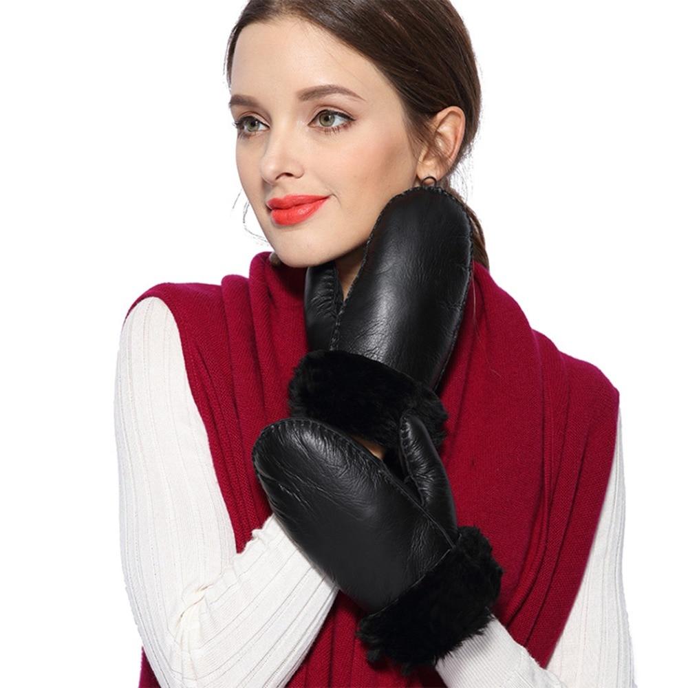 Ladies Genuine Leather Gloves Winter Gloves Women Wool Fur Mittens Thicken Warm Cute Sheepskin Fur Outdoor Gloves Guantes Mujer
