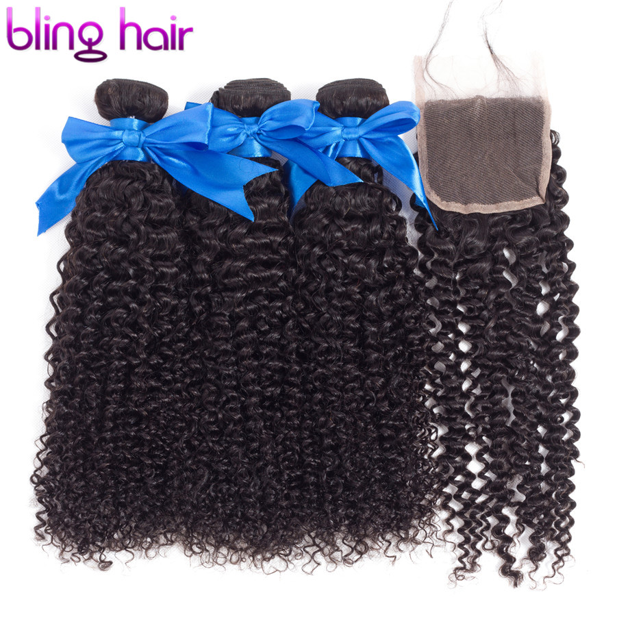 bling hair Kinky Curly Hair Bundles with Closure 4 4 Lace Closure 100 Remy Human Hair