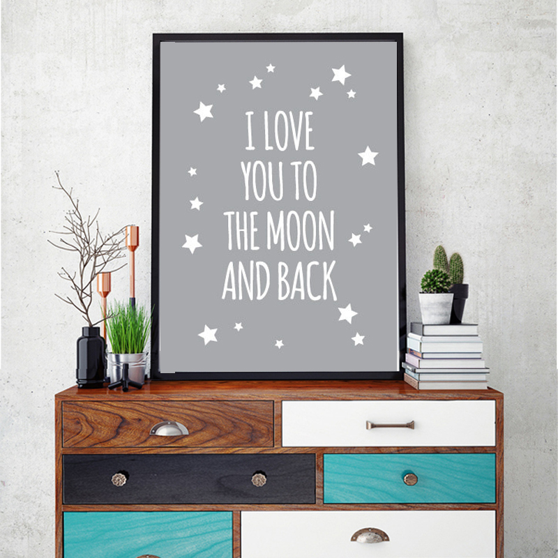 Classic Quote I Love You To The Moon And Back Nursery Wall Art