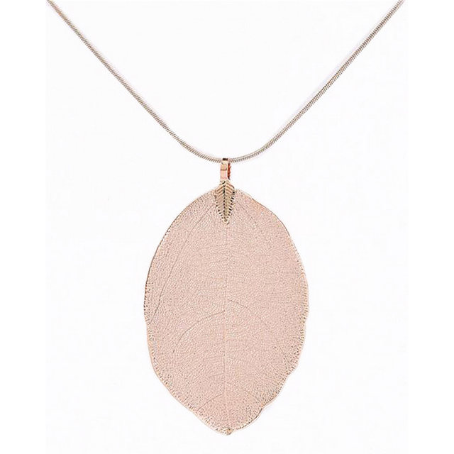 Online shop fashion jewelry maxi necklace rose gold color chain fashion jewelry maxi necklace rose gold color chain real leaf charm design pendant necklaces pendants women collier femme gift aloadofball Image collections