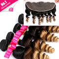 Wiggins HairLace Frontal Closure With Bundles Ear To Ear 13x4 Lace Frontal With Bundles 3/4pcs Virgin Brazilian Loose Wave Ombre