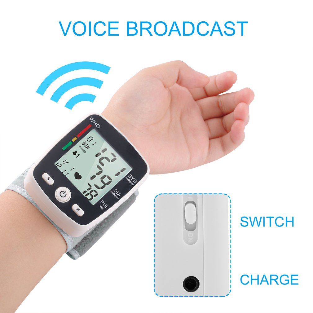 2017 LCD Digital Display Automatic Wrist Blood Pressure Monitor with Cuff Household Use sphygmomanometer tonometer