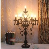 Ресторан Античный Черный Стеклянный светодио дный Настольный светильник светодиодный подсвечник Escritorio хрустальные подсвечники для столо