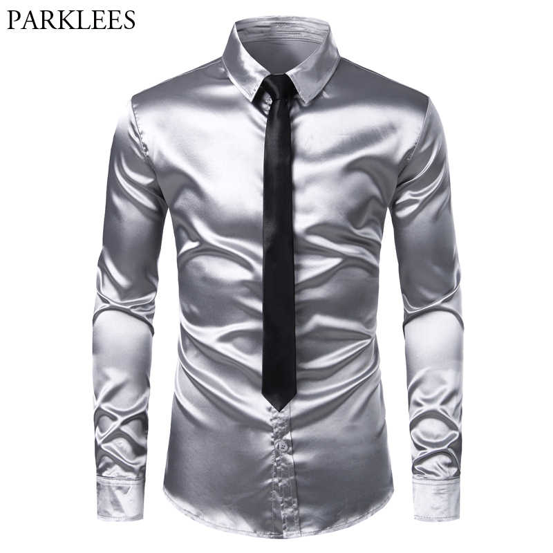 Men's Sliver Silk Satin Dress Shirt With Tie 2019 Brand Slim Fit Button Down Casual Shirt Male Party Wedding Prom Stage Chemise