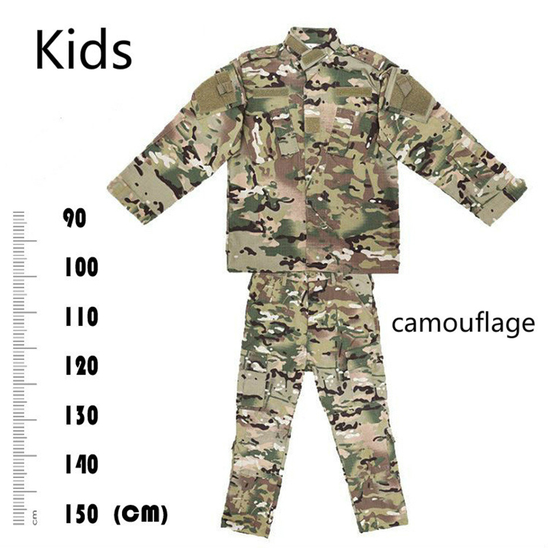 Camouflage Suit Kids Hunting Clothes Outfit ACU Military Tactical Special Forces Combat Uniforms Clothes Boy Girl Army CP men s hunting clothes combat us uniforms outfit ruin camouflage military suit multicam army tactical fatigues frog combat sets