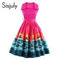 Sisjuly Women Vintage Dresses 1950s Cartoon Print Retro Belt Cute Party Dress Summer Sleeveless Color Block