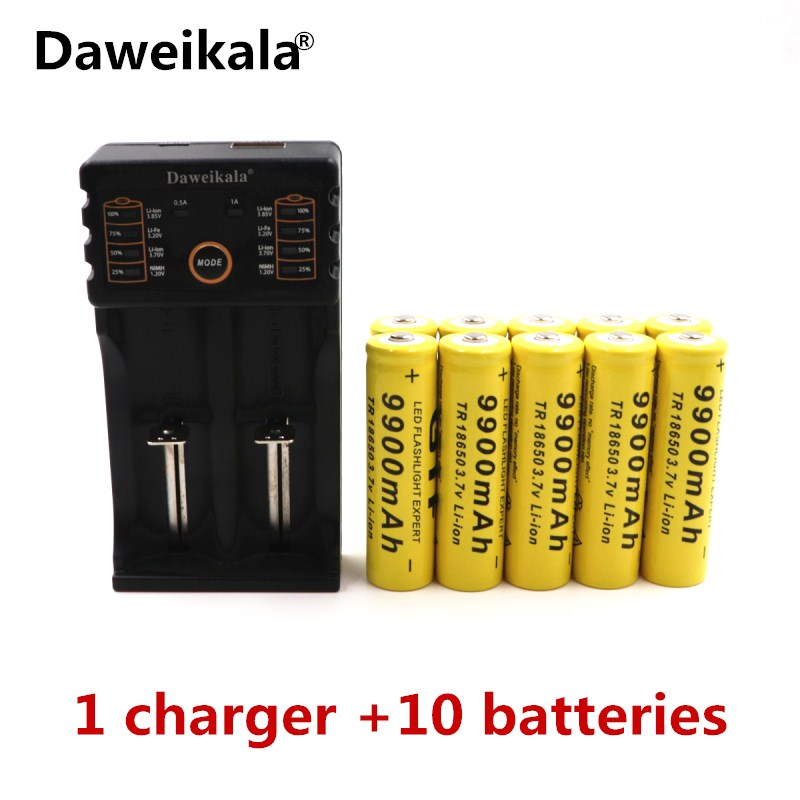 Daweikala Brand battery 18650 3.7 V 9900 MAH Li ion rechargeable battery 18650 batery +1pcs 18650 battery charger intelligent ...