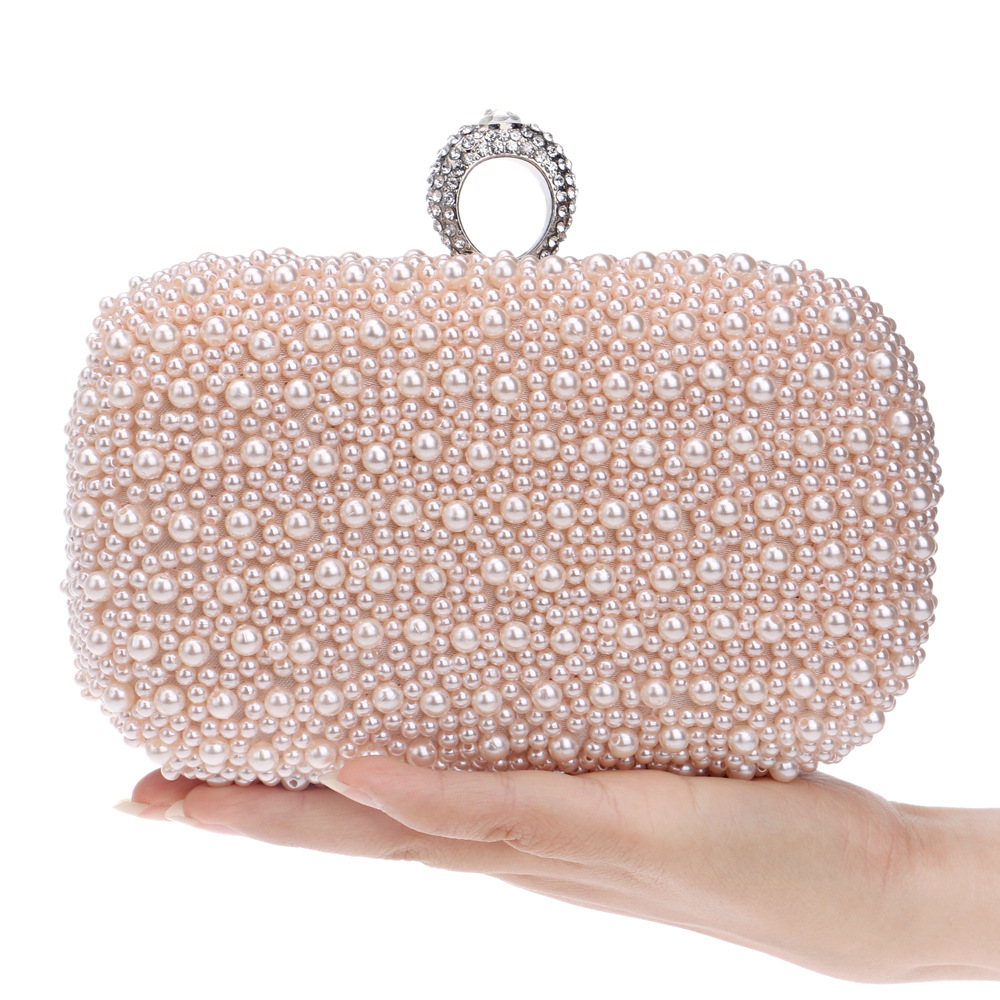 Women's Faux Pearl Beaded Evening Clutch Bag, Beautiful Handbag for Bridal Wedding