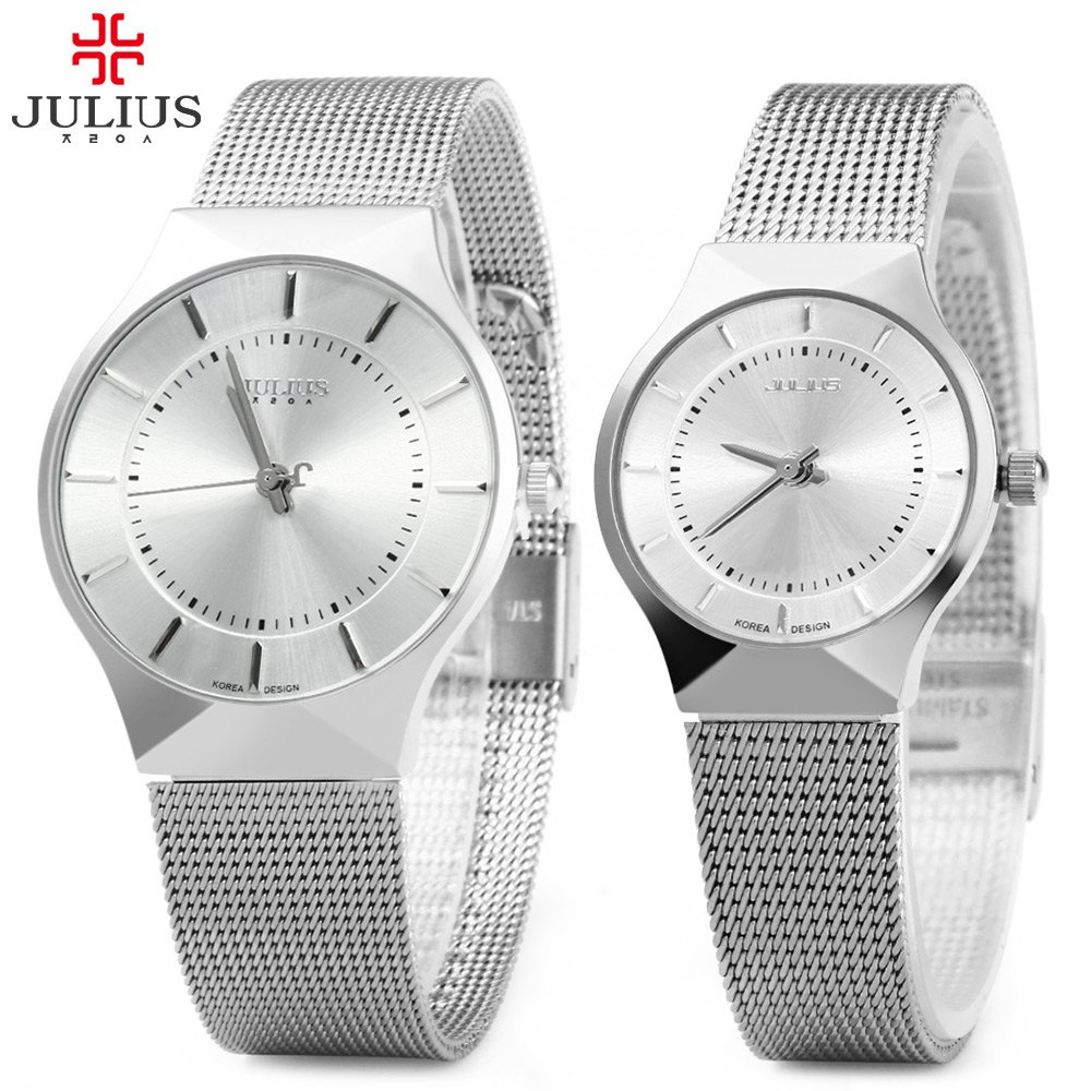 Julius Pair of Couple Quartz Wrist Watch Ultrathin Full Steel Lovers Watches Fashion Waterproof Men Women Wristwatches relogio new fashion full stainless steel silver web band dress quartz wrist watch wristwatches for men women lovers couple