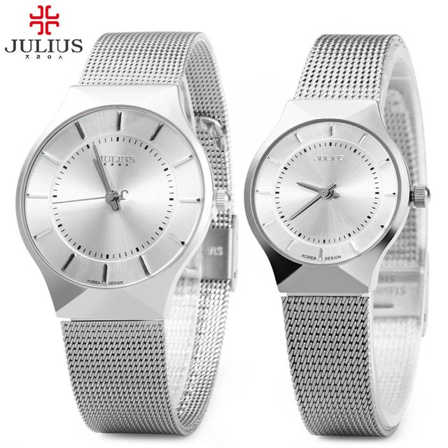 Julius Pair of Couple Quartz Wrist Watch Ultrathin Full Steel Lovers Watches Fas